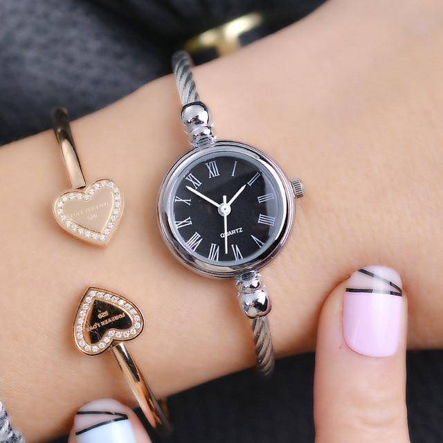 Simple argent femmes Bracelet montres élégant petit Bracelet femme horloge Ulzzang marque de mode cadran romain rétro dames montre-Bracelet