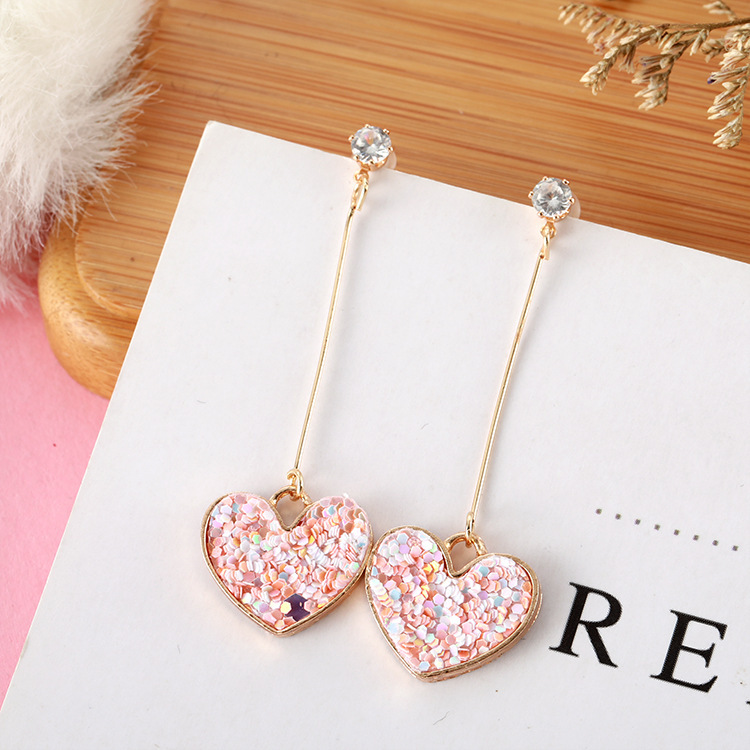 Korean Fashion Sweet Romantic Girl Pink Sequin Love Long Exquisite Pendant Earrings Temperament Wild Bride Earrings Gift