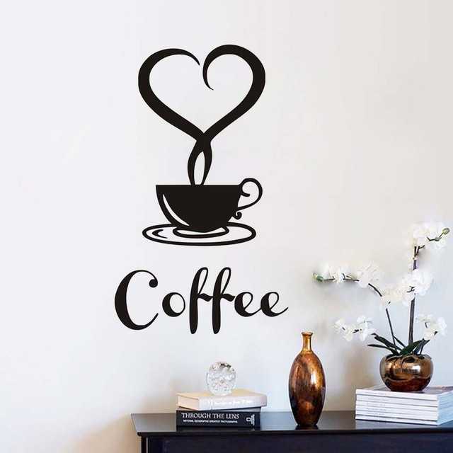 Heart Shaped Mist A Cup Of Coffee Wall Stickers Removable Vinyl Black Wall  Art Decals Kitchen