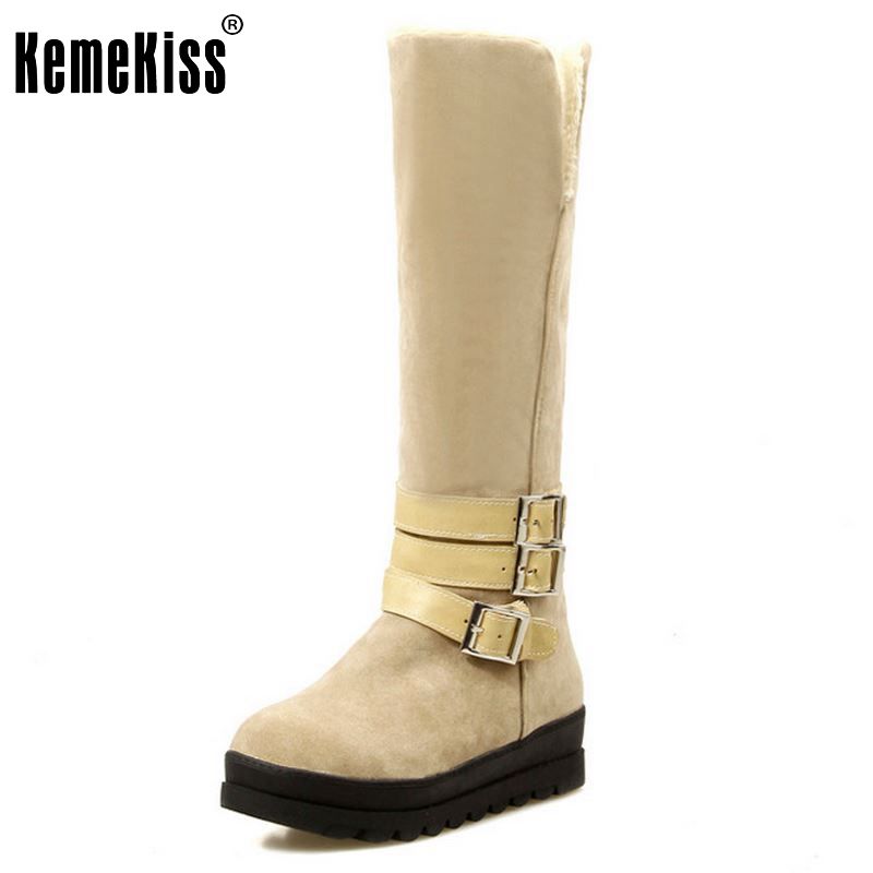 ФОТО Women Flat Over Knee Boot Winter Snow Warm Long Boots Ladies Bota Knight Buckle Fashion Quality Footwear Shoes 34-43