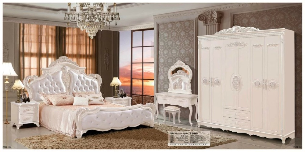 modern european solid wood bed Fashion Carved  leather  french bedroom set furniture king size HC0093
