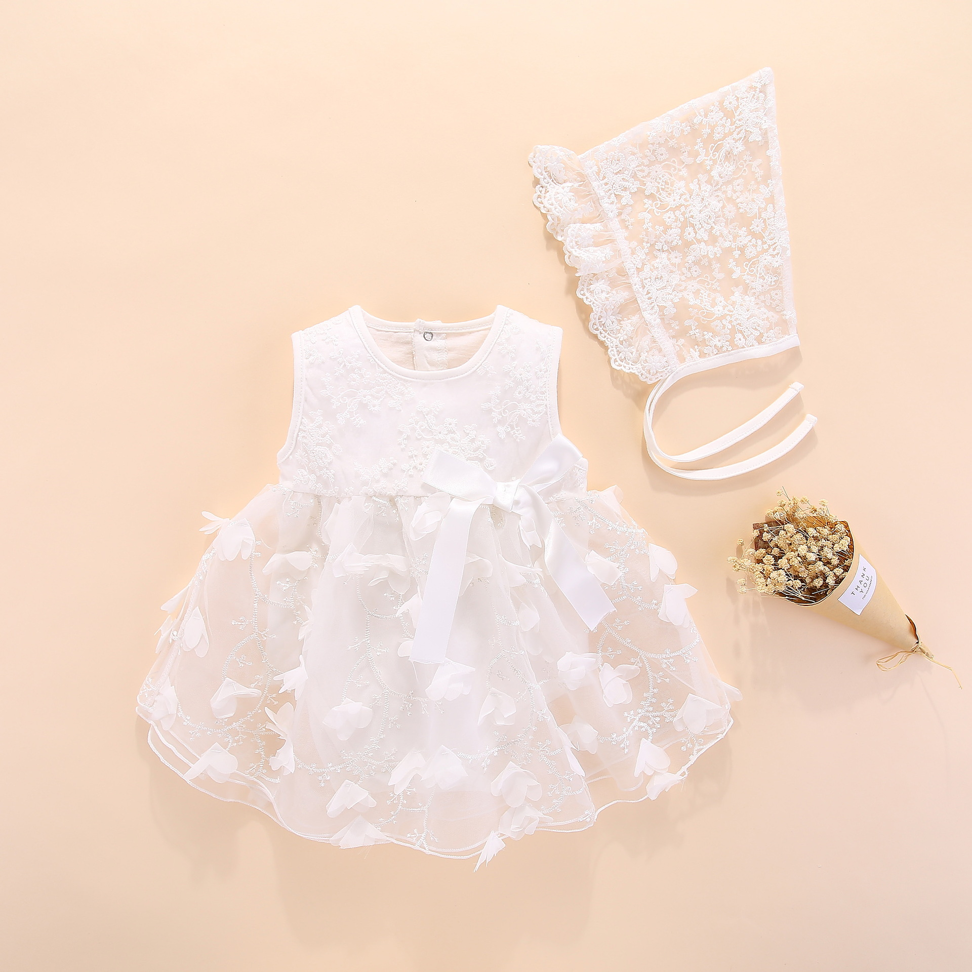 newborn baby girl dresses clothes summer with flower 0 3 6 month baby girl dress for party and wedding princess style clothes(China)