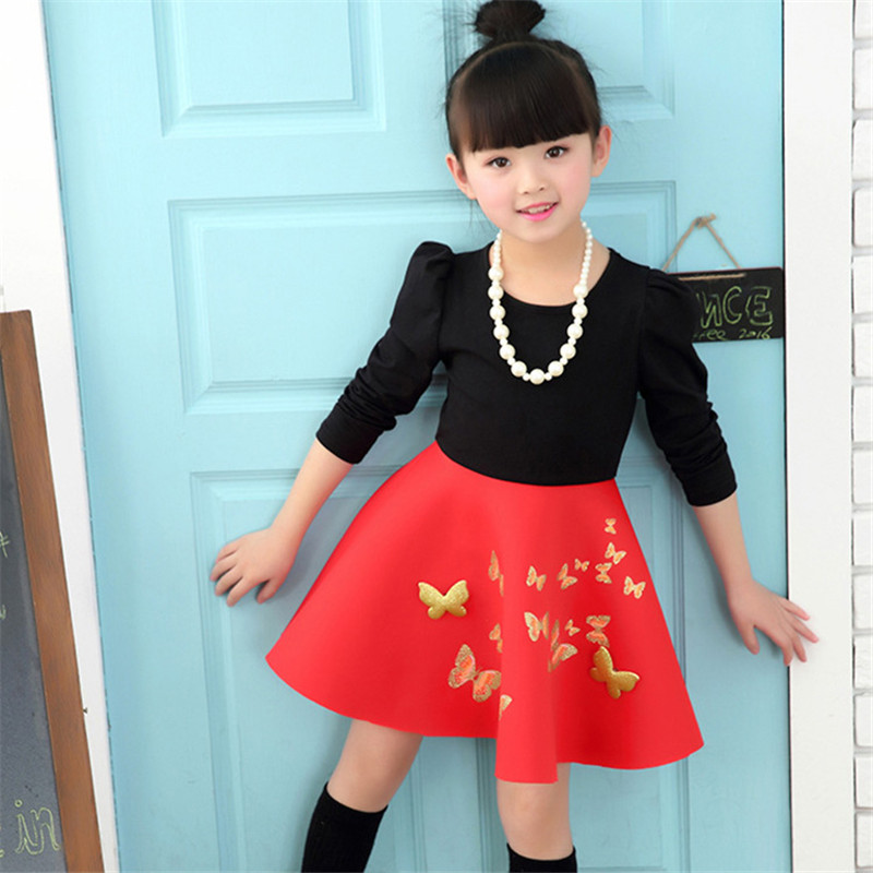 2017 Casual Long Sleeve Girl Dress Butterfly Patchwork O-Neck Princess Party Dresses Baby Kids Designer Baptism Graduation Dress 4pcs lot 960p indoor night version ir dome camera 4 in1 camera 3 6mm lens p2p onvif abs plastic housing