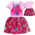 Trolls Christmas Dress For Girls Clothes Princess Girl Dresses Kids Clothing Children Summer Robe Cartoon pajamas Sleepwear