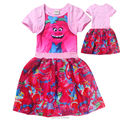 Trolls Natal Vestido Para A Roupa Das Meninas Da Princesa Vestidos Da Menina Roupa Dos Miúdos Crianças Robe de Verão Dos Desenhos Animados pijamas pijamas