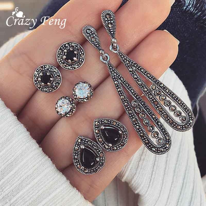 4 pari / set Ženske kristalni uhani iz uhana za ženske Boucle - Modni nakit