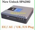 Envío libre Orignal Desbloqueado VoIP adaptador Linksys SPA2102 con router VoIP puerta llamada gratuita