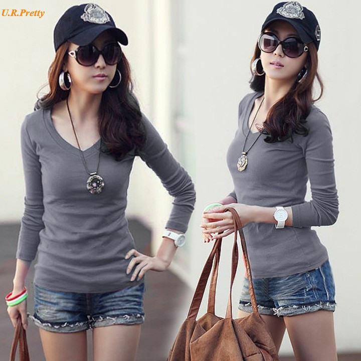 5fc88903a New 2017 Hot Sale New Fashion Sexy T shirt Women Winter Solid Top Plain T  Shirt Long Sleeve T Shirt 22-in T-Shirts from Women's Clothing on  Aliexpress.com ...