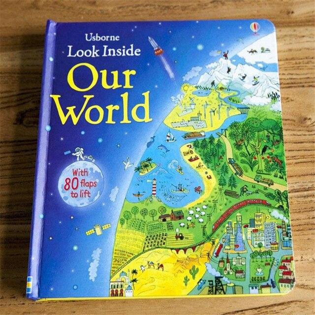 אנגלית ילדי ספרים להסתכל פנימה מקורי תינוק חינוכיים תמונה שלנו העולם עם 80 דשים כדי מעלית מתנה לילדים