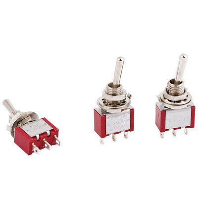 3pcs 6mm Panel Mounting 2 Way SPDT Momentary Toggle Switch AC250V 3A 120V 5A