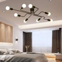Retro negro lámpara de techo Bar restaurante cocina dormitorio araña lámpara Loft vintage industrial decoración, lámpara de hierro forjado