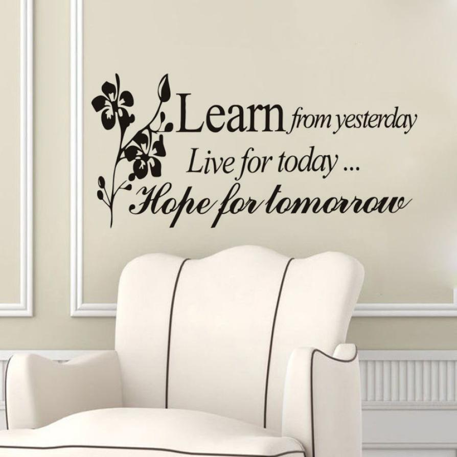 popular inspiring sayings buy cheap inspiring sayings lots from wall sticker inspiration quote learn live hope yesterday today tomorrow flora sayings home decor wall sticker