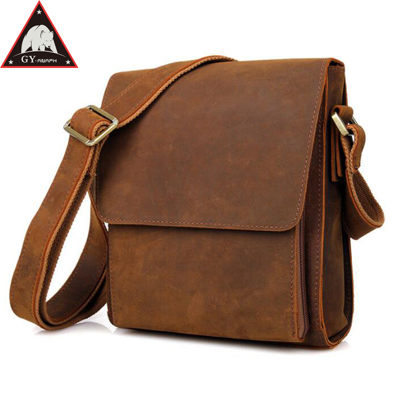 Anaph Men's Genuine Leather Shoulder Bag Craze Horse Crossbody Messenger Bags Casual Cowhide Small Flaps In Brown flaps in oral