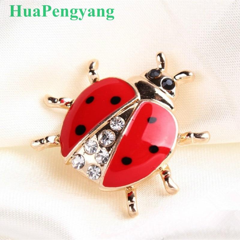 Høj kvalitet håndlavet olie insekt broche mode dyr broche rhinestone kvindelige smykker mariehøne broche