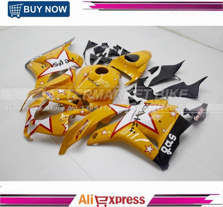Kit complet de carénage ABS pour Honda CBR600RR 2007 2008 jaune Repsol & Star stickers carénages moto F5 CBR600 RR 07 08 carrosserie