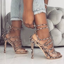 Fashion Summer Women Sandals Casual Snake Thin belt PU Lace Up Heels 11.5CM High Open Toed Shoes Sexy Pumps