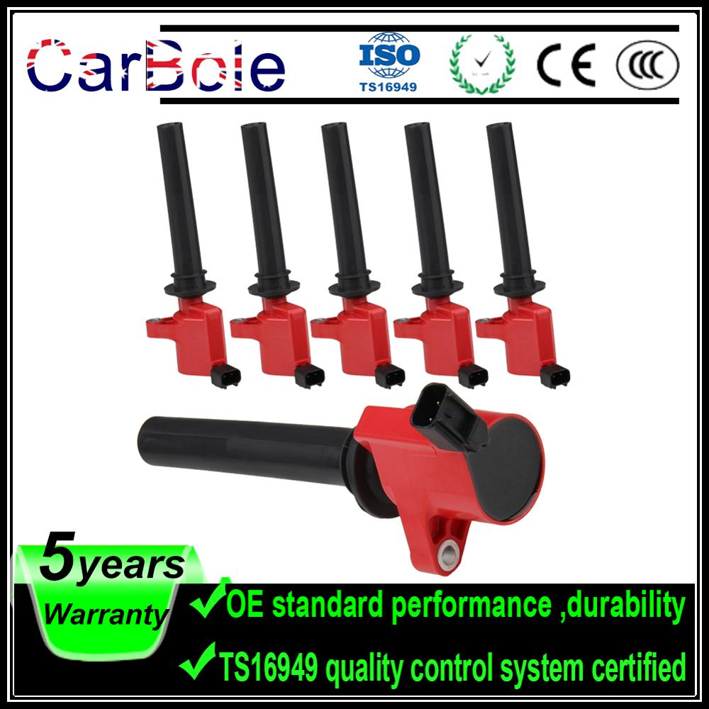 6PCS High Performance Ignition Coil DG500 For Ford Escape For Mazda Tribute For Mercury DG500 C1458 FD-502 1L8Z12029AB 5C1617