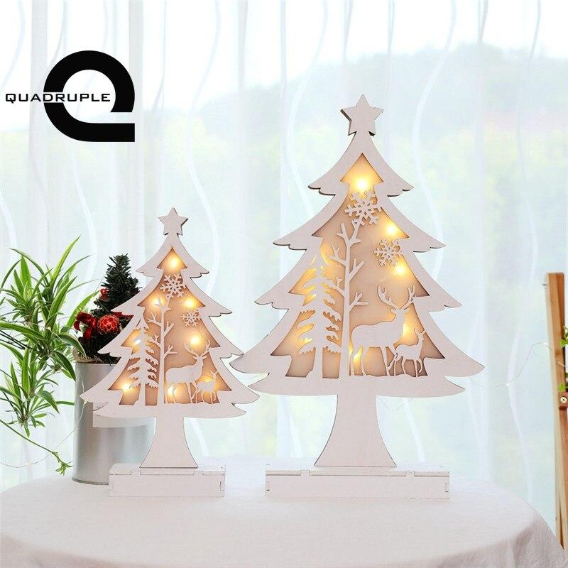 Us 1355 Poczwórne Drewniane Choinki Lampa Stołowa świecące Luminous świąteczne Hotel Centrum Dekoracji Okna Oświetlenie Ozdoby W Lampy Stołowe Led