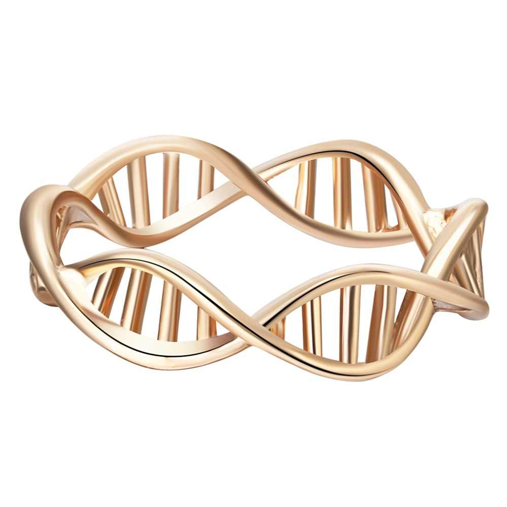 Qiamni 女性ファッション dna の形のリング女性ヴィンテージ科学化学リング分子親友ギフト