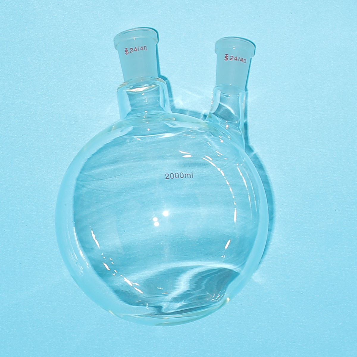 2000ML 2 Neck 24 40 Round Bottom Glass Flask Two Necks Chemistry Boiling Bottle Lab Supplies ISO Standard Glass Flask 1pc lot 50 60 125 250 500 1000 2000ml quartz glass distillation flask with round bottom for kinds of lab experiments