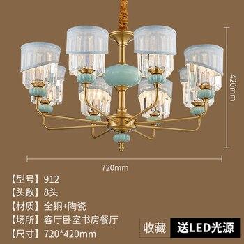 Amerikaanse Land Eenvoudige Licht Luxe Glas Kristal Koperen Restaurant Keramische Kroonluchter