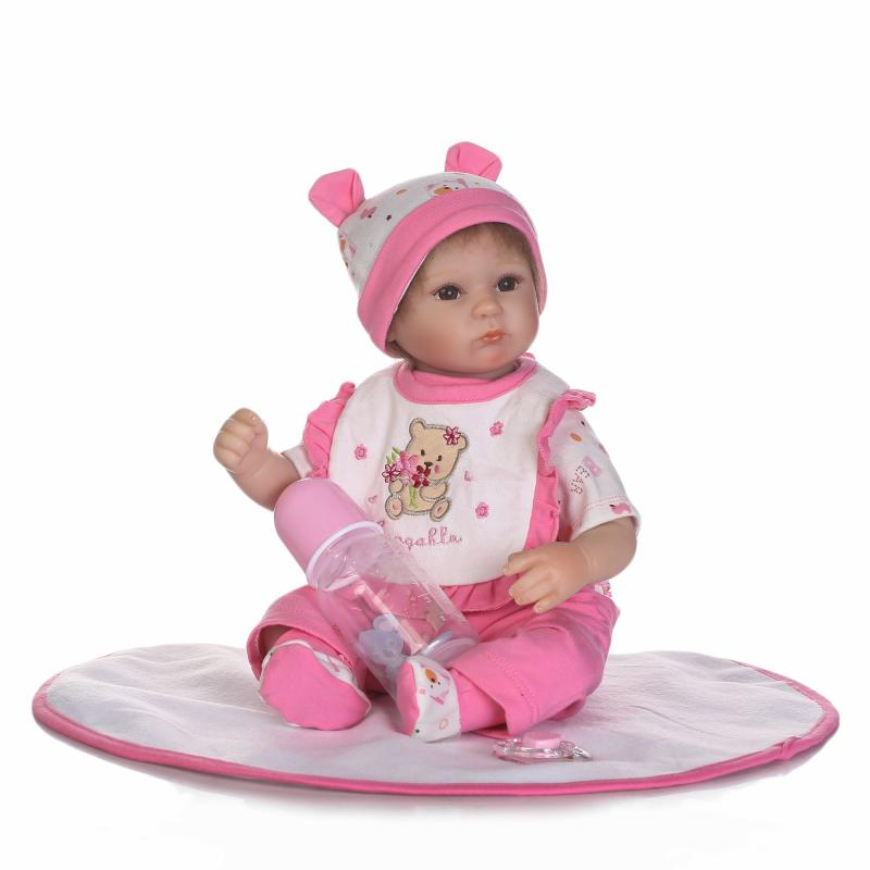 NPK New design Realistic doll soft silicone reborn baby doll with mohair playing toys for kids Christmas sweet baby gift