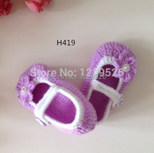 Crochet Baby Booties Baby girl booties Crochet Baby shoes purple with white flower style shoes
