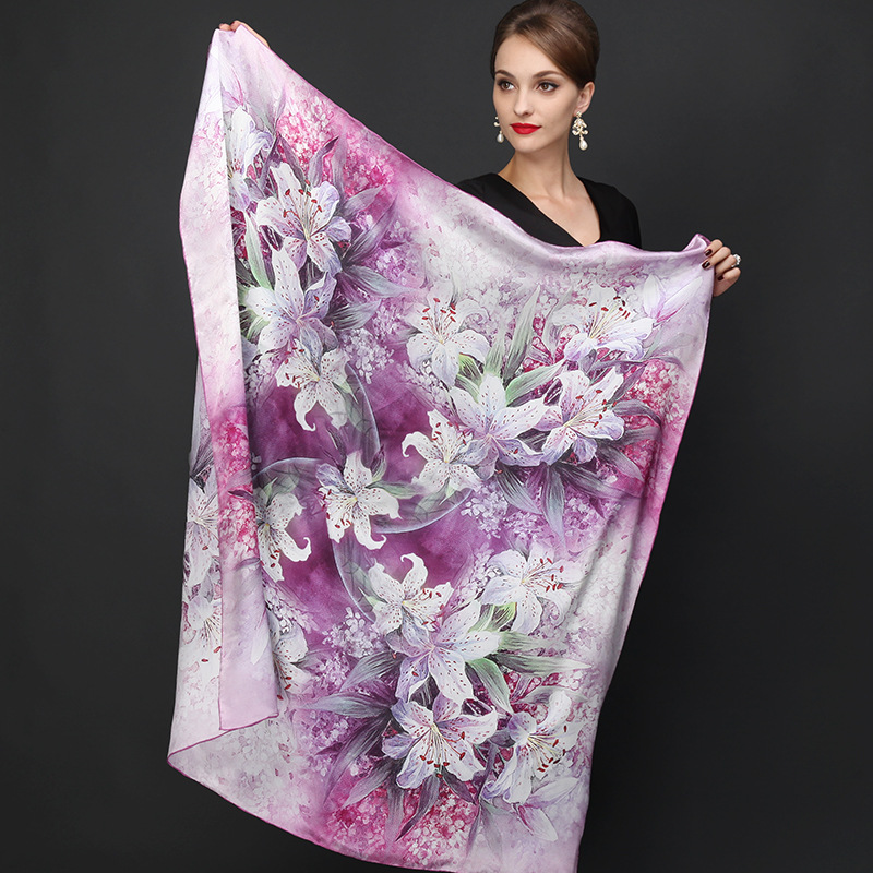 DANKEYI 110 110cm 100 Mulberry Big Square Silk Scarves Fashion Floral Printed Shawl Sale Women Genuine
