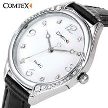 Comtex fashion watch Black White Leather Band women watch Stainless Still Case Ladies wrist Watch Waterproof quartz wristwatches