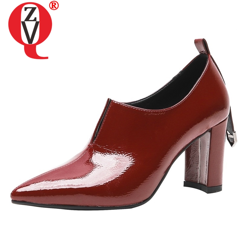 ZVQ shoes women 2019 spring newest fashion patent leather women pumps 8 cm hoof heels slip
