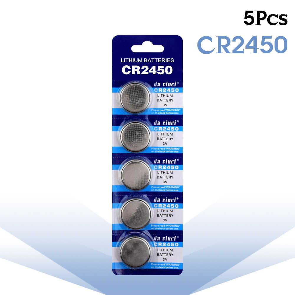 5 ชิ้น/แพ็ค CR2450 แบตเตอรี่ปุ่ม KCR2450 5029LC LM2450 เซลล์แบตเตอรี่ลิเธียม 3V CR 2450 สำหรับนาฬิกาของเล่นอิเล็กทรอนิกส์ REMOTE