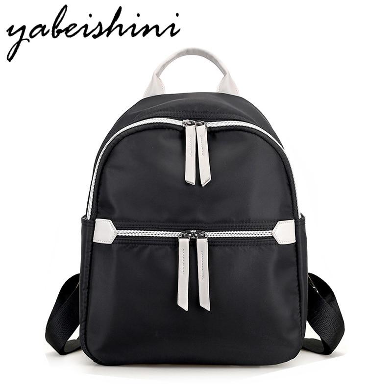 YABEISHINI Girl School Bags For Teenagers Women Small Backpack Black Nylon Women s Backpacks Fashion Female