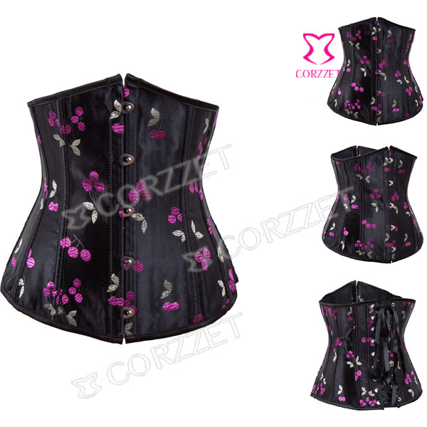 Latex Waist Cincher Women Black Satin Cherry Pattern Embroidery Waist Trainer   Corsets   Corselet Underbust   Bustiers     Corset   Corse