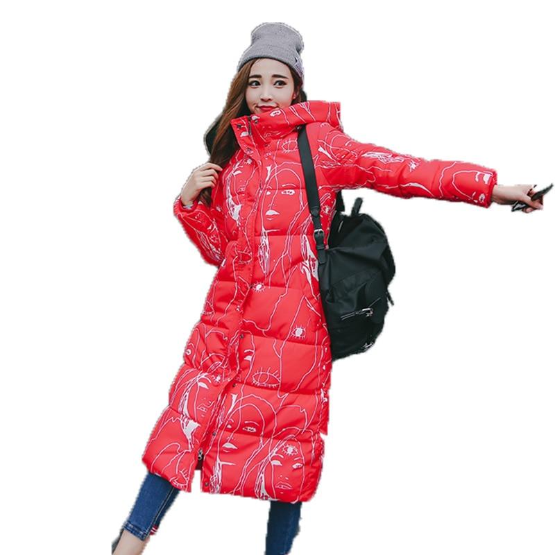 RosEvans 2017 Winter Autumn Plus Size Women Maxi Long Print Jacket Coat Female Hooded Warm Jacket Female Parkars B508 plus size letter print hooded sweatshirt dress