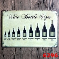 Vintage Metal Painting Retro Metal Tin Sign 20cm 30cm Art Posters Wine Bottle Sign Wall Stickers