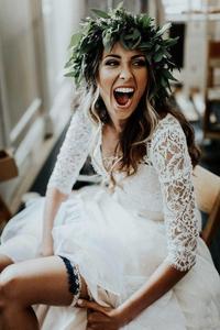Image 4 - Vestido de noiva 2 pièces plage robes de mariée dentelle une ligne mousseline de soie demi manches robe de mariée bohème Sexy col en V robe de mariée