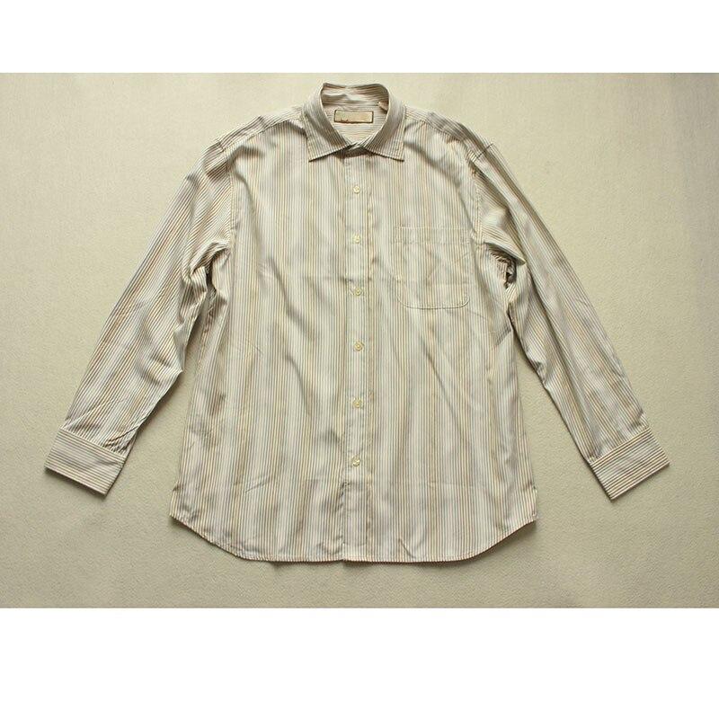 Long Sleeve Men Shirt Spring Autum Narrow Striped Silk Fabric