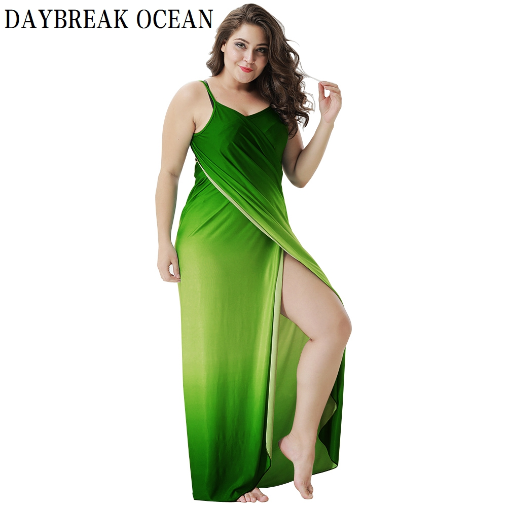 Big Size 5XL Loose Sexy Party Beach Casual Boho Long Maxi Wrap Slip Gradient Dress Summer Bodycon Spaghetti Strap Women Dress in Dresses from Women 39 s Clothing