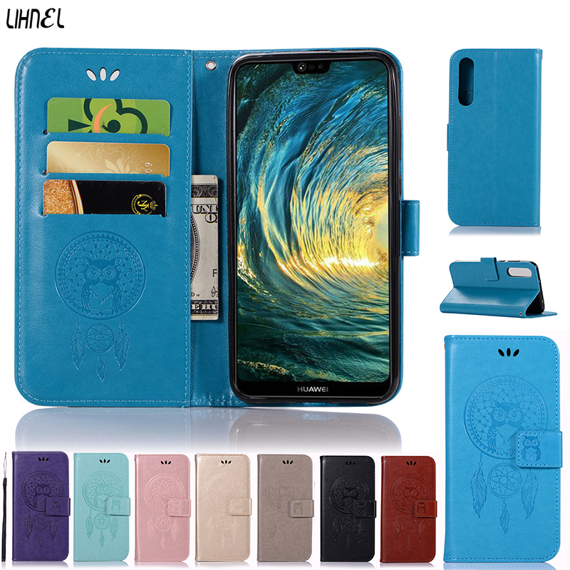 LIHNEL Owl Aeolian Pattern Magnetic Flip Cover Holster PU Leather Stand Wallet Card Slots Purse Case For Huawei P20 Pro Capes