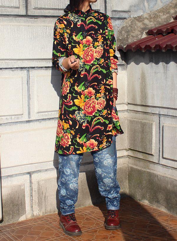 Китайский национальный стиль ретро хлопок, воротник-стойка лягушка длинный рукав блузки с боковыми разрезами длинное платье чонсам