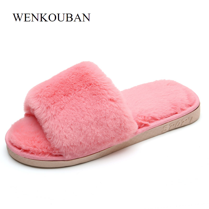 все цены на Fashion Home Slippers Winter Shoes Women Fur Slippers Comfortable Ladies Slides Indoor Plush Shoes Female Mules Chausson Femme