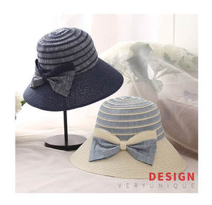 ee81313f0ac women patchwork bucket hat Cotton Luxury polo panama bow tie foldable hat  summer hat 6 colors