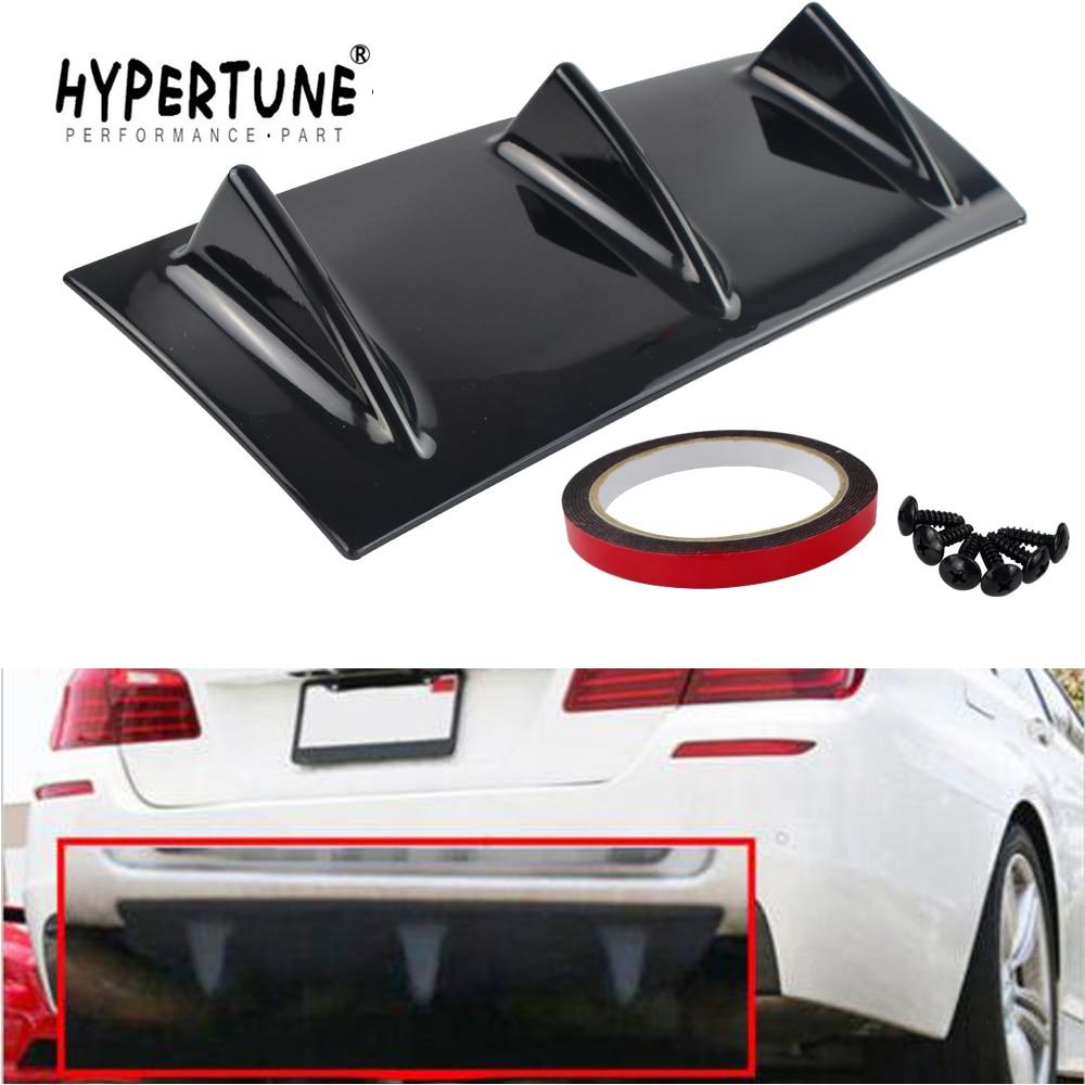 Shark Fin 3 Wing Lip Diffuser Car Rear Bumper Chassis Gloss Black ABS Universal