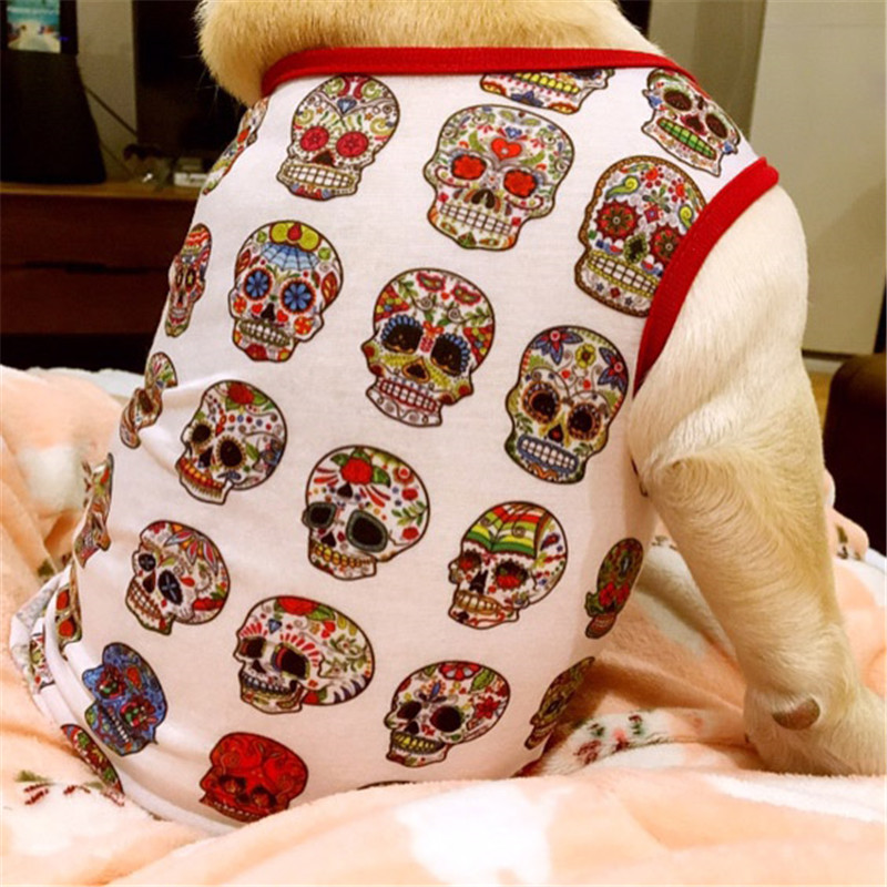 Skull Dog Vest Pet Clothes Coats Puppy Dog Summer Vest Sweatshirt Clothing Dogs Cat Cotton T-shirt Soft Puppy Dogs Clothing13