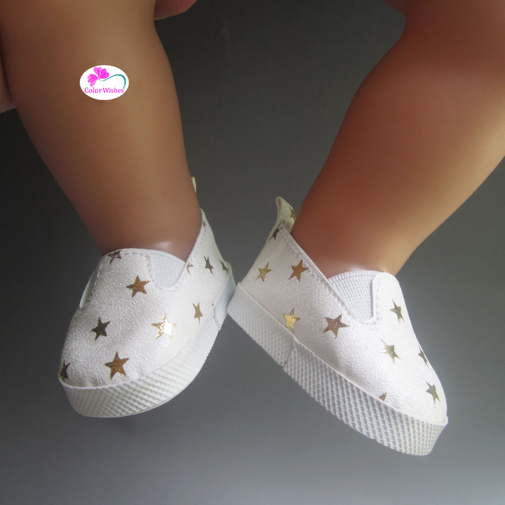 Fashion-white-sports-boots-shoes-for-dolls-fits-43-cm-Zapf-dolls-baby-born-and-18-1