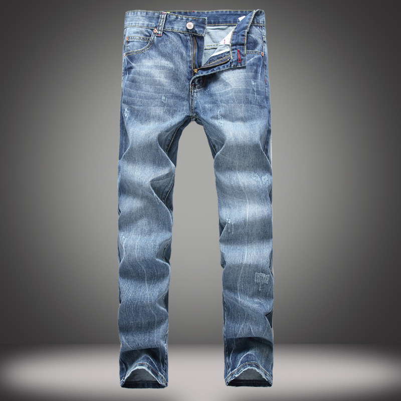 autumn and winter male Slim straight Retro Jeans Men Slim Casual Pants Elastic Men's Jeans LIght Blue Cotton Denim Jeans For Men