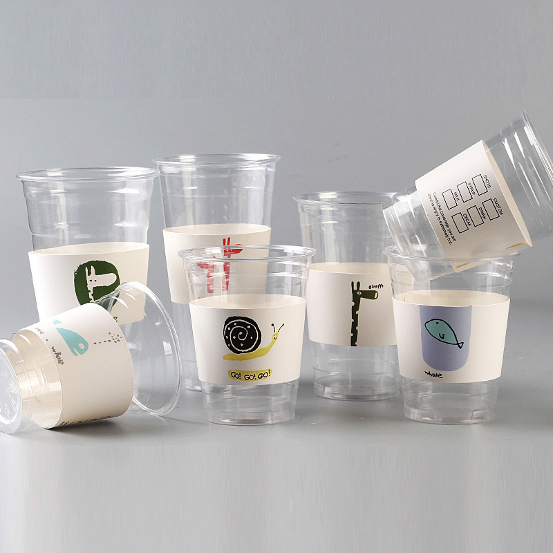 500 Pcs Disposable Cup Sleeve For Disposable Cups Cartoon White Cardboard Coffee Tea Juice Cup Sleeve