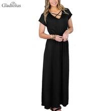 Gladiolus New Fashion Summer Long Dresses Short Sleeve V-Neck Ankle-Length  Casual Maxi Dress Tunic Sundress Robe Femme Ete 2018 173046e8fc87