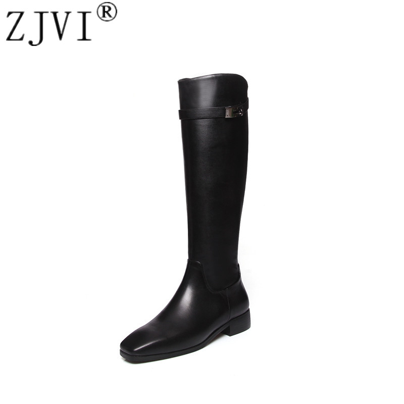 ZJVI women genuine leather thigh high boots womens winter autumn knee high boots 2018 black buckle square low heels woman shoes цена