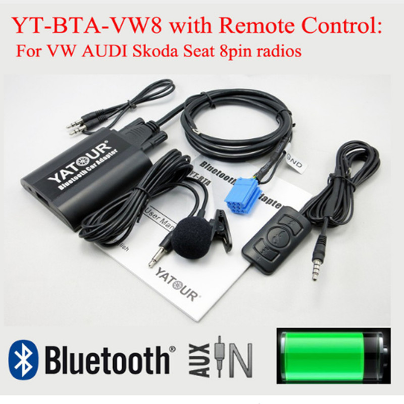 Yatour Bluetooth 音楽デコーダー BTA と Rmoteo 制御 vw アウディ A2 A3 A4 S4 A6 S6 A8 S8 TT オールロードシュコダシート 8pin ラジオ VW8  グループ上の 自動車 &バイク からの 車用マルチメディアプレーヤー の中 1